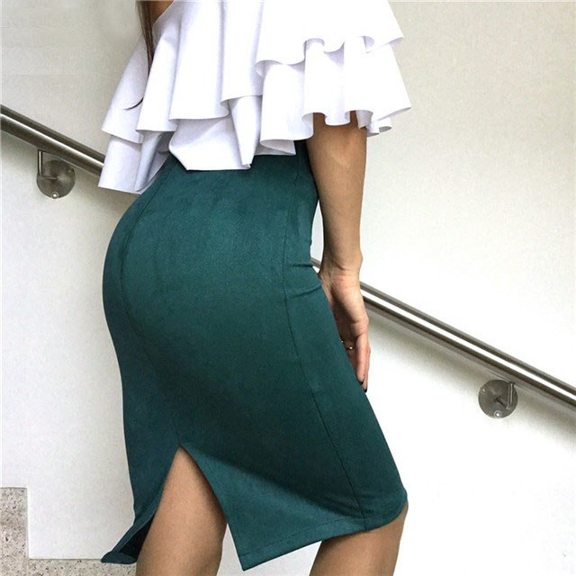 Women Skirts Suede Split Thick Stretchy Skirt Female Pencil Skirts Plus Size Jupe Femme Faldas Mujer-geekbuyig