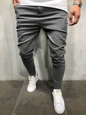 Men's Twill Fashion Jogger Pants 2018 New Stripe Urban Straight Casual Trousers Slim Fitness Long Pants S-3XL-geekbuyig