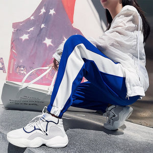 korean style autumn women Sweatpants Harajuku Casual white Patchwork ankle-length Harem Pants Jogger Pants Bunch Foot trousers-geekbuyig