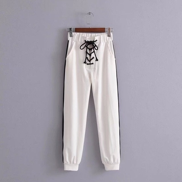 High Waist Women's Harem Pants Sweatpant White Black Joggers Lace Up Side Stripe Trousers For Women Autumn Winter Sweatpants-geekbuyig