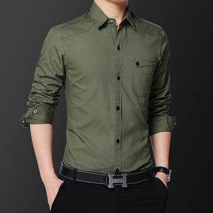 2018 New casual Brand Shirt Slim Fit Men Long Sleeve Shirt Plus Size M-5XL100% pure cotton Men Clothes Shirts-geekbuyig