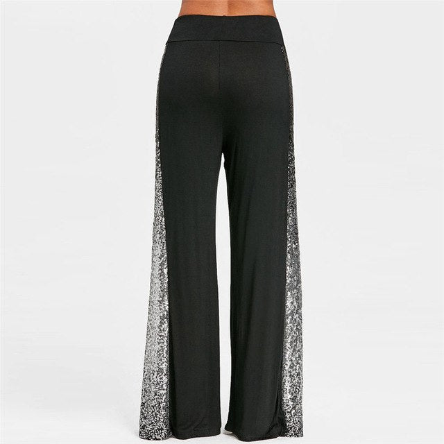 Fashion Womens Pants Casual Solid Wide Leg Pants Gradient Sequins Insert Maxi Loose Trousers Freeship And Wholesale #J27-geekbuyig
