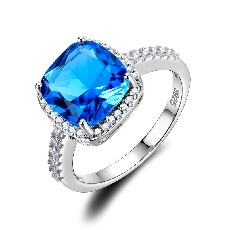 Women's Jewelry S925 Silver Ring AAAAA Lake Blue Square Zircon Ring Wedding Jewelry Party Cute Korean Valentine's Day Gift-geekbuyig