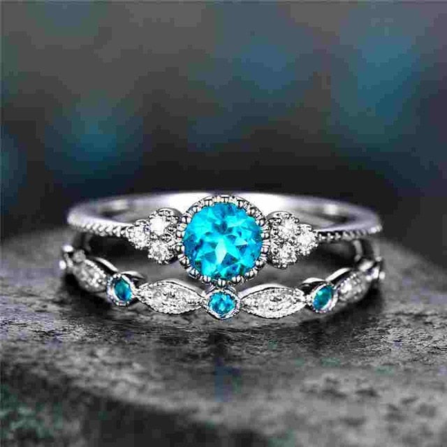 2Pcs/Set 2018 Luxury Green Blue Stone Crystal Rings For Women Sliver Color Wedding Engagement Rings Jewelry Dropship bagues pour-geekbuyig
