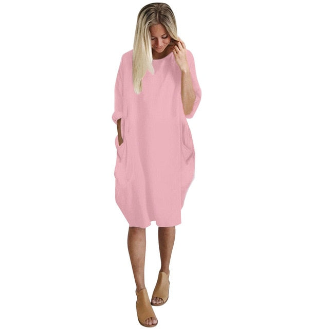 Autumn Womens dresses Pocket Loose Dress Ladies Crew Neck Casual Long girl Tops Dress female fashion big vestido-geekbuyig