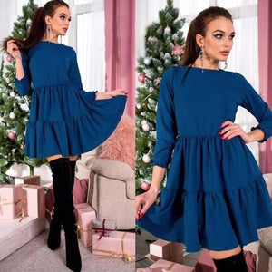 Three Quarter Sleeve Pleated Autumn Dress Women 2018 Solid Colour Ruffles O-neck A-Line Casual Loose Mini Dresses Vestidos-geekbuyig