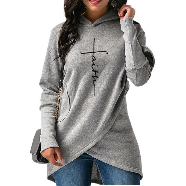 Autumn Hoodies Women Long Sleeve Pocket Letters Embroidery Sweatshirts Warm Hooded Pullover Tops Plus Size Casual Female Clothes-geekbuyig