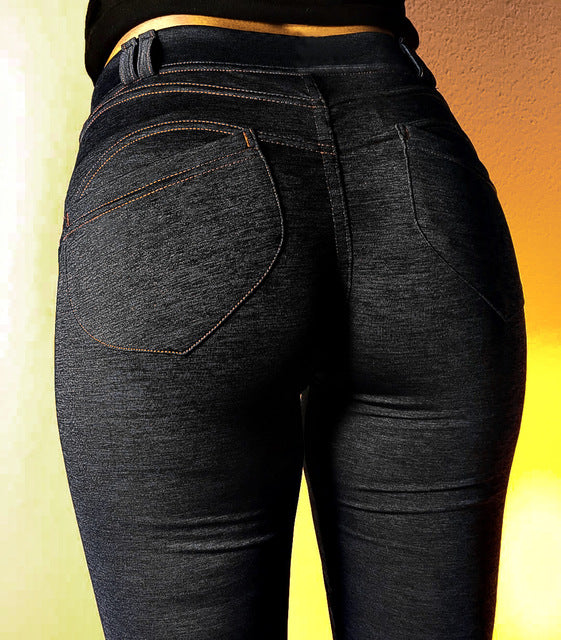 Women Casual Elastic Imitation Jeans Leggings Denim Blue Push Up Leggings Fashion Female Black Cotton Pocket Leggings Plus Size-geekbuyig