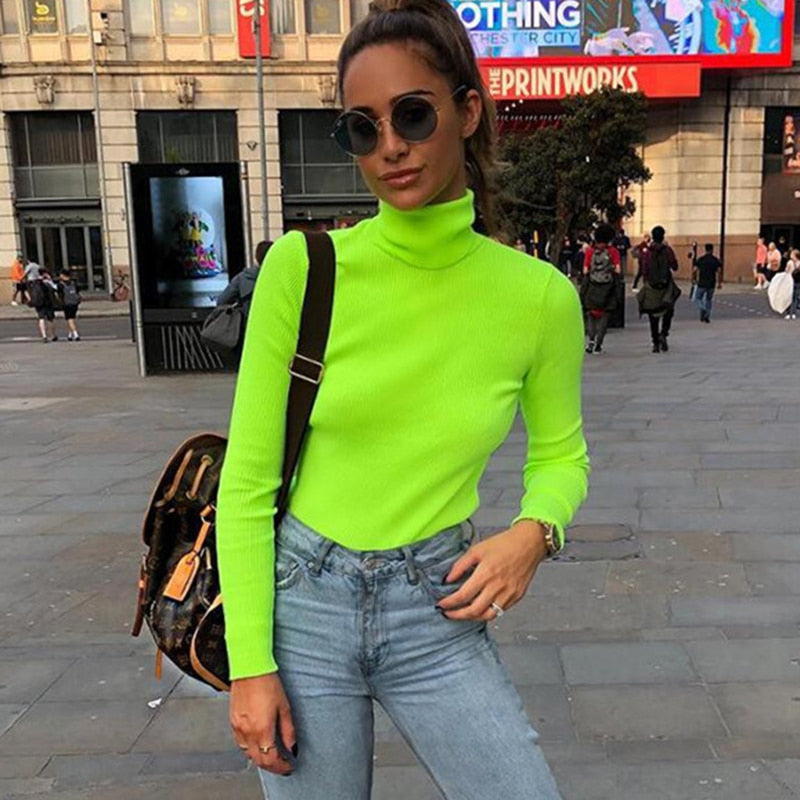 ZHYMIHRET 2018 Autumn Winter Neon Color Ribbed T Shirt Women Long Sleeve Turtleneck Tshirt Fashion Knitted Tops Tee Femme-geekbuyig