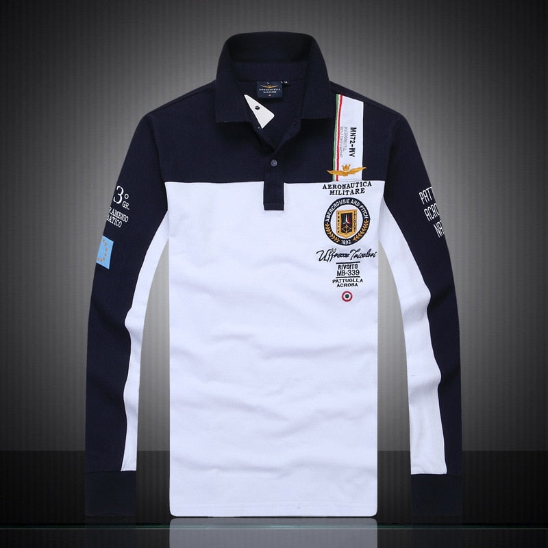 new men's boutique embroidery Aeronautica Militare 100% cotton polo shirt lapel Men's Air Force One Long sleeves polo shirt-geekbuyig