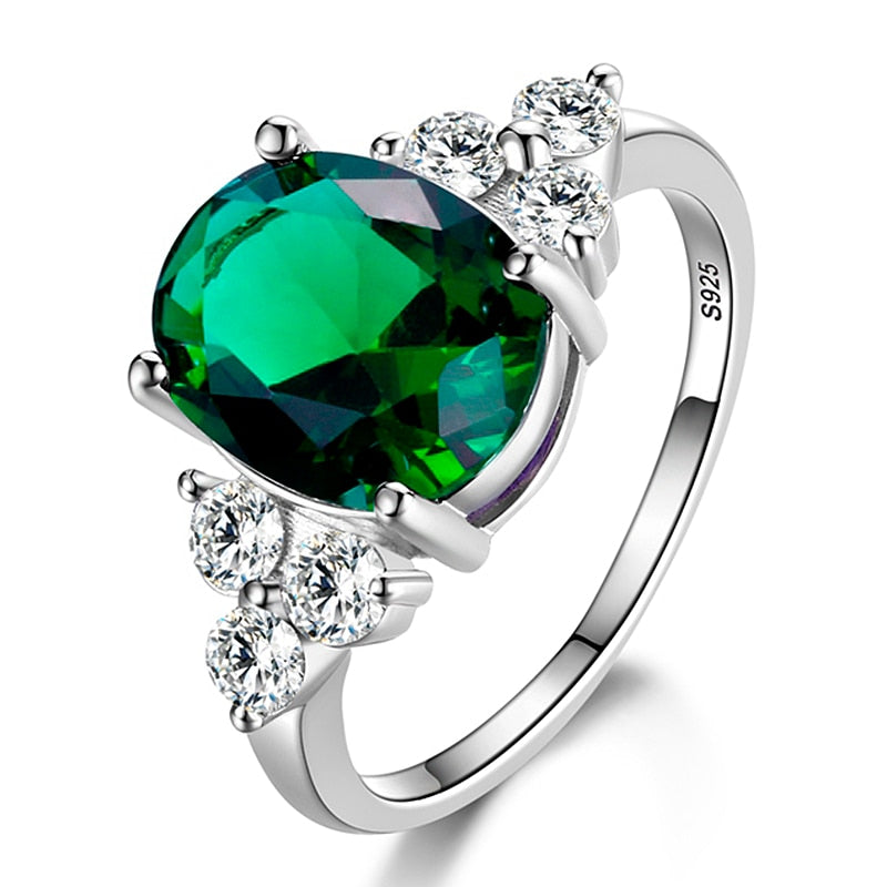 Women's Rings 925 Sterling Silver Jewelry Ring With Oval Cut AAAAA Royal Blue Red Emerald Green Olive Zircon Ring Wedding Gifts-geekbuyig