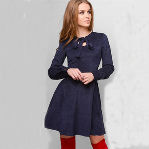 2018 New Autumn Velvet warm dress Women Elegant Vintage winter Long sleeve A-line dress Wine res Party Mini Dresses Vestidos-geekbuyig