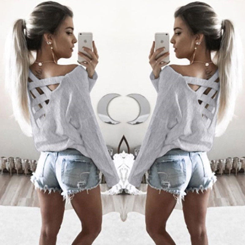 017 Summer Fashion Women T-Shirts Long Sleeve Sexy Back Cross Loose Sexy T Shirts Women Lace Up Tops Tees T Shirt-geekbuyig