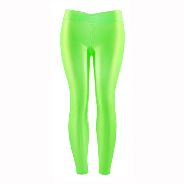 Plus Size Women Workout Leggings Casual Fluorescent Leggings High Elastic Female Shiny Elasticity Pants Girl Clothing Leggins-geekbuyig