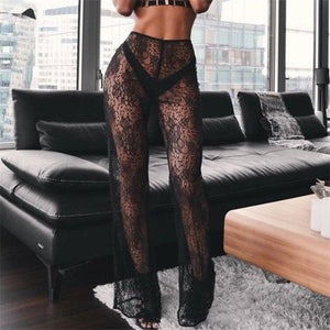 Women Lace See Through Wide Leg Long Beach Pants Lady Sexy High Waist Trousers Black/White Summer Holiday Mesh Perspective Pants-geekbuyig