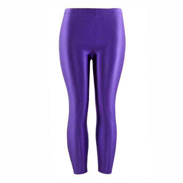 21 Colors Plus Size Fluorescent Color Women Leggings Elastic Leggings Spandex Multicolor Shiny Glossy Leggins Trousers For Girl-geekbuyig