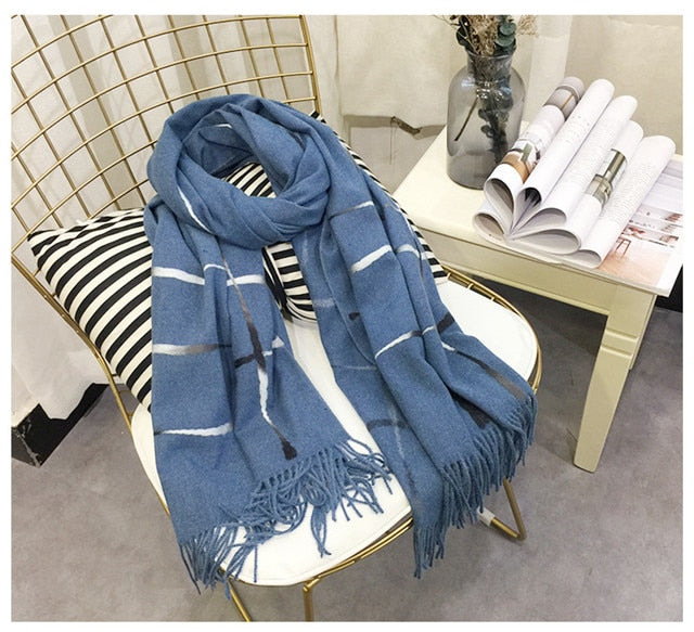 New Brand design double side big size women's scarf knit Thick Warm winter scarves long size female plaid cashmere scarves-geekbuyig