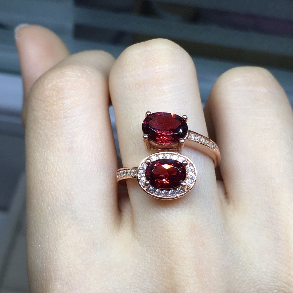 [MeiBaPJ Fine Quality Natural Red Garnet Gemstone Trendy Ring for Women Real 925 Sterling Silver Charm Fine Jewelry-geekbuyig