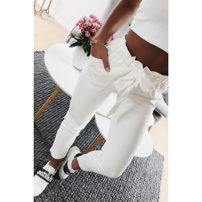 White Casual Pants Women Trousers Harem Pants Female Loose Bandage Ankle Length Pantaloon Spring Autumn Women Bottoms-geekbuyig