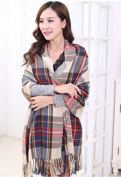 LaMaxPa Women's Winter Warm Plaid Scarves Tippet Ladies/ Women Shawls and Wraps Long Tassel Female Foulard Blanket Dropshipping-geekbuyig