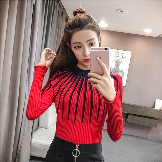 SexeMara New Women Slim Sweaters Autumn Turtleneck Long-sleeved Knitted Jumper Harajuku Outwear 2018 Korean Stripes Pullovers-geekbuyig