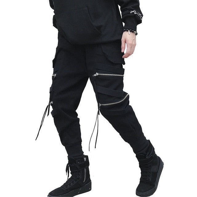 New Hip Hop Streetwear Joggers Men Black Zipper Ribbon Harem Pants Cotton Casual Slim Street Style Sweatpants Men-geekbuyig