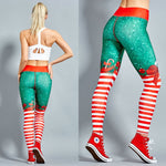 2018 Christmas Printing Leggings Put Hip Elastic High Waist Legging Breathable Merry Christmas Pants-geekbuyig