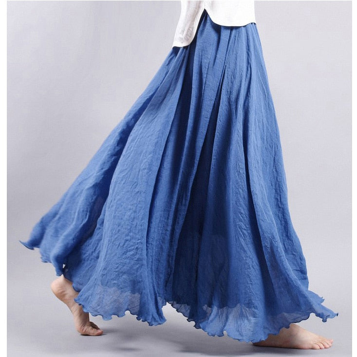 Women Linen Cotton Long Skirts Plus Size Elastic Waist Pleated Maxi Skirts Vintage 2 Layers Summer Skirts Faldas Saia feminina-geekbuyig