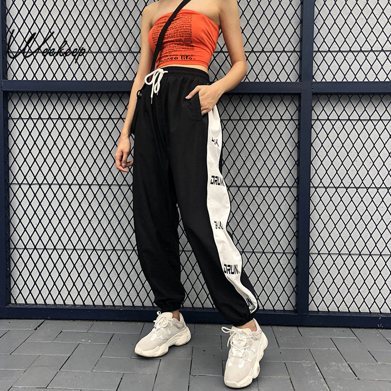 Weekeep Women Patchwork High Waist Pants Streetwear Loose Black Pencil Pants Fashion Drawstring Waist Pleated Trousers Women-geekbuyig