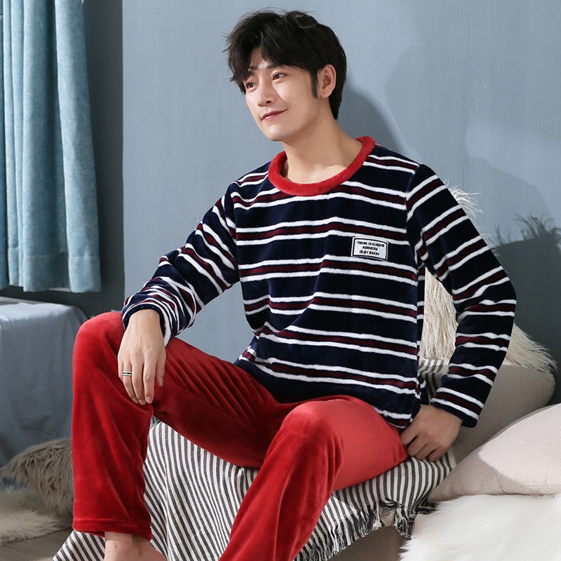 Winter Flannel Pajamas Set for Men Coral fleece Thickened Homewear Suit warm sleepwear Boys Pijamas Suit plus size 3XL 4XL 5XL-geekbuyig