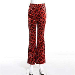 Autumn Women Flare Pants Leopard Flared Trousers High Waist Red Pants 2018 Full Length Sexy Streetwear Women Skinny Trousers-geekbuyig