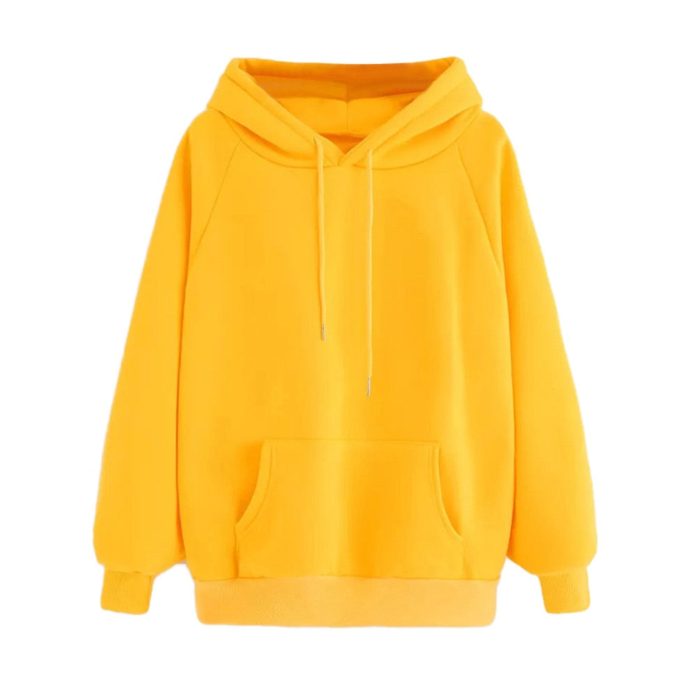Spring Autumn Yellow Hoodies Women Fashion Long Sleeve Sweatshirt Hooded Pullover Tops With Pocket Hip Hop Girls Clothes #L5-geekbuyig