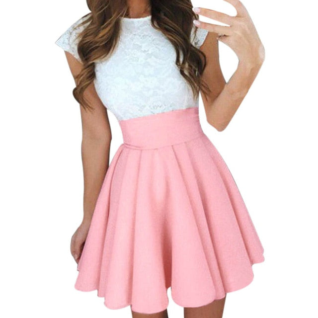 Midi Skirts Womens Summer Solid High Waist simple Skater Skirt Ladies Party Cocktail Mini Skirts Faldas Cortas #YL-geekbuyig