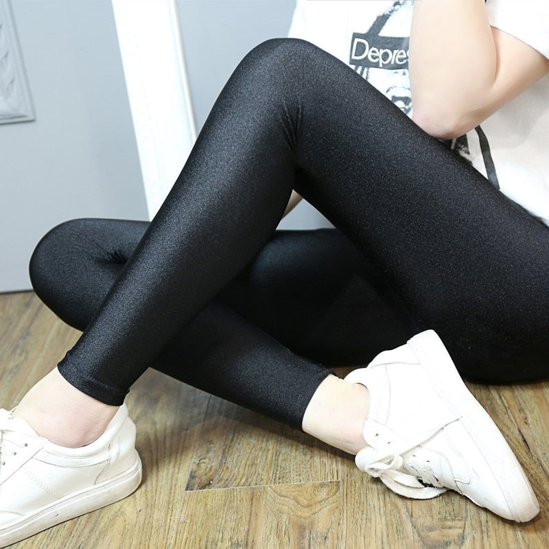 2017 New Women Plus Size Leggings fashion solid slim pants black shiny skinny trousers Glossy Pants 5XL 4XL 3XL large size-geekbuyig