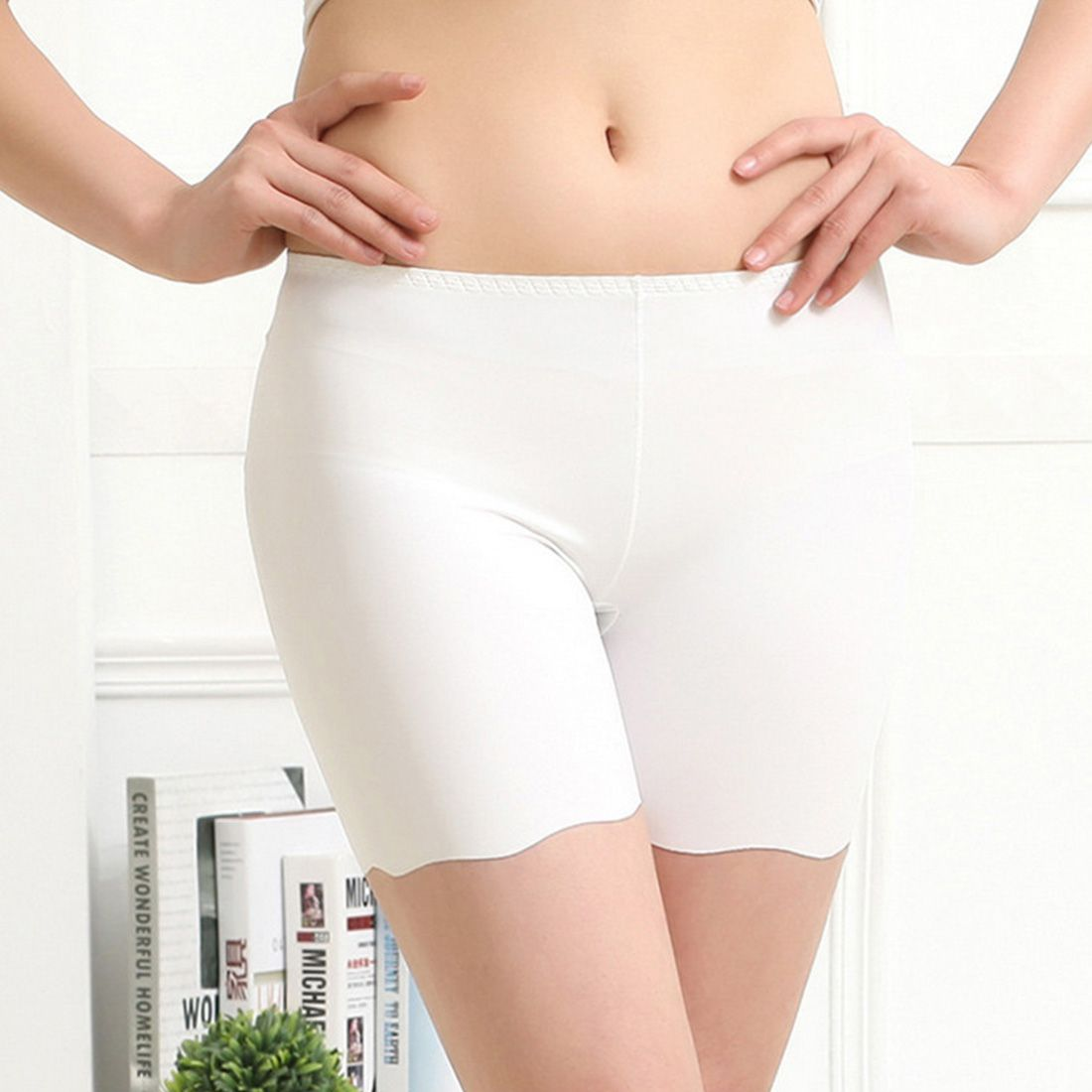 2018 Hot Selling Sexy Women Ice Silk Briefs High Waist Seamless Elastic Pants Short Female Leggings White/ Black/ Skin-geekbuyig