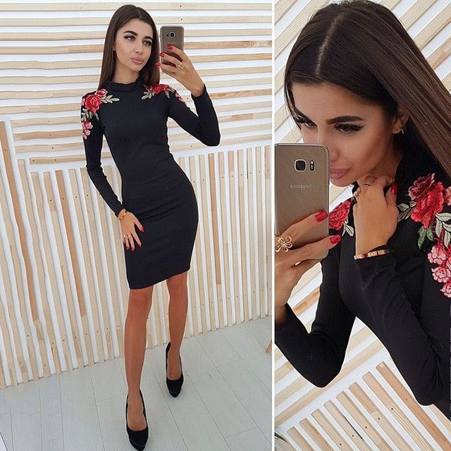 Fashion Appliques Sheath Bodycon Dress Women's Sexy Blue Black Package Hip Dress 2018 Autumn Long Sleeveless Pencil Dress-geekbuyig