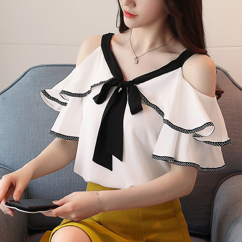 New 2018 Spring Short Sleeve Chiffon Shirt Temperament Sweet Ruffled V-neck Strapless off Shoulder Top Lady Blouse 991A D598 30-geekbuyig