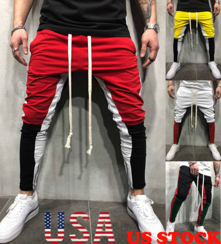 Men Slim Fitness Trousers Long Pants Tracksuit Bottoms Skinny Joggers Men's Sweat Track Zipper Pants-geekbuyig