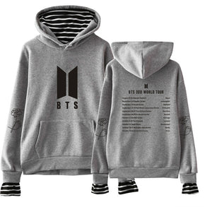 Waidx Love Yourself Answer Pullover Hoodies BTS Women Fake Two-piece Suit Sweatshirt Hip Hop Outerwear Streetwear Drop Shipping-geekbuyig
