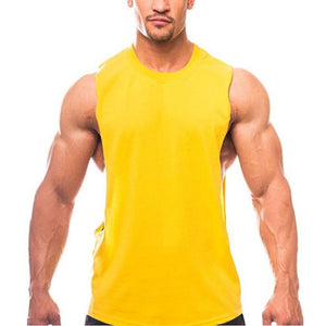 Brand Clothing Summer Fitness Tank Top Men Cotton Sleeveless Loose Vest Singlet Casual Men's O-Neck Solid Color Shirt Tanktops-geekbuyig