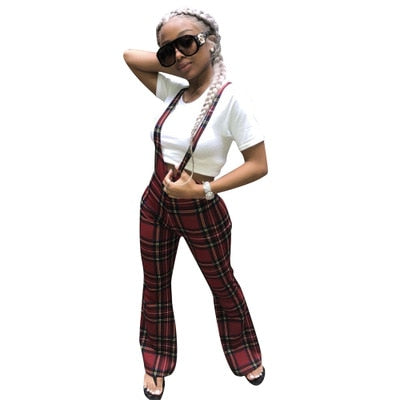 Summer Autumn 2018 Woman High Waist Red Harem Sweat Loose Flare Pants Women Fashion Plaid Overalls Casual Lace Up Trouser Pant-geekbuyig