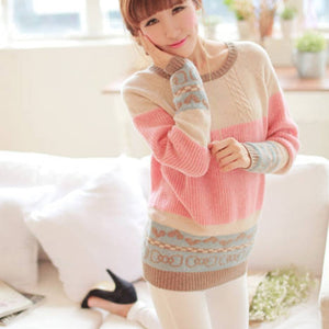 JRNNORV Dropshipping Multicolor Winter Sweater Women Long Sleeve Jumper Women Sweater and Pullover Knitted Sweater Femal 043-geekbuyig