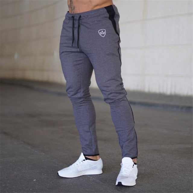 2018 Cotton Men full sportswear Pants Casual Elastic Mens Fitness Workout Pants skinny Sweatpants Trousers Jogger Pants-geekbuyig