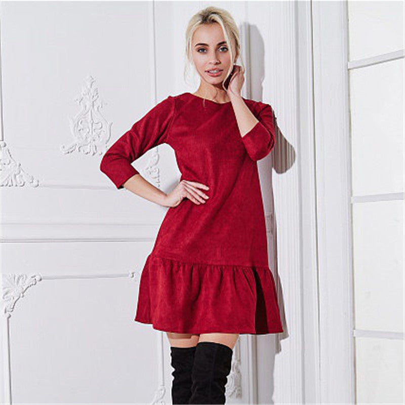Fall 2018 Women Suede Casual Three Quarter Sleeve T Shirt Mini Dress Autumn Winter Fashion Vintage Ruffle Christmas Dresses-geekbuyig