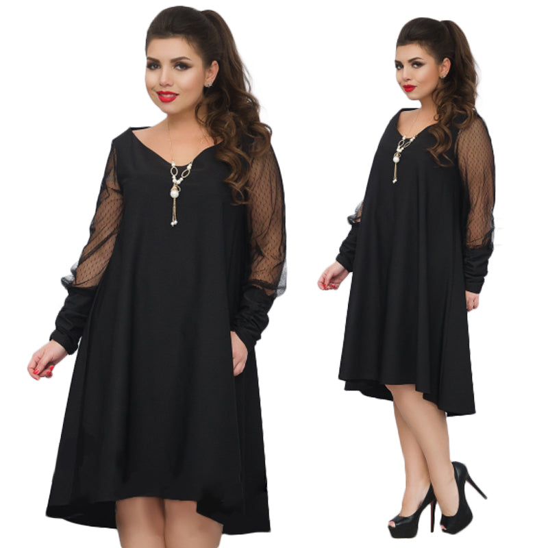 2018 Plus size women dress christmas mesh party dress 5XL 6XL large size loose winter dress casual black dress female vestidos-geekbuyig