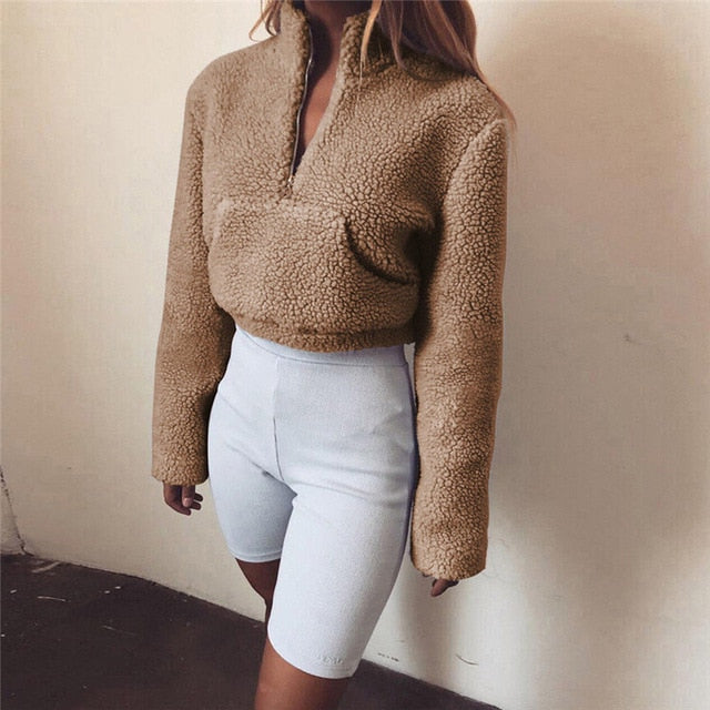Women's High Collar Hoodie Lady Turtleneck Front Zipper Thick Warm Sweatshirt Crop Top Coat Pocket Fluffy Pullover Tops Hoodies-geekbuyig