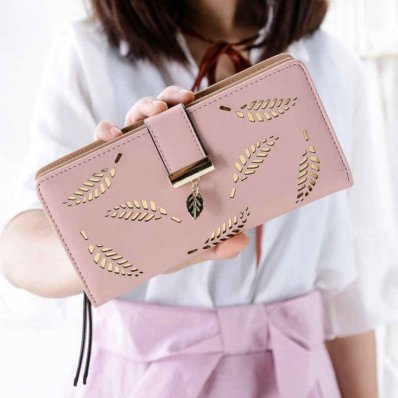 Fashion Leather Wallets and Purses Women Leaf Hollow Out Long Wallet Phone Bag Card Holder Coin Pocket Purses Money Bags-geekbuyig