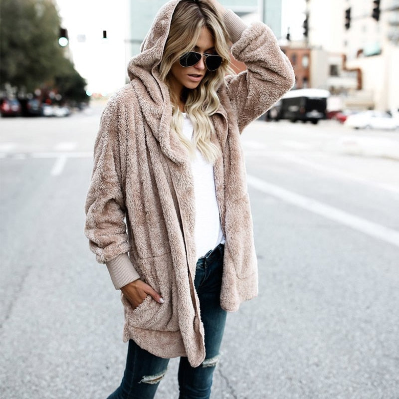 Large size S-3XL Faux Fur Teddy Bear Coat Jacket Women Fashion Open Stitch Winter Hooded Coat Female Long Sleeve Fuzzy Jacket-geekbuyig