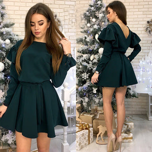 Women Sexy Club Sashes A Line Party Dress Ladies Butterfly Sleeve O Neck Autumn Dress 2018 Fashion Women Solid Elegant Dress-geekbuyig