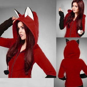 2018 moletom bts kpop Fox Ears Hooded Sweatshirts Women Long Sleeve Coat Autumn Hoodie Jacket-geekbuyig